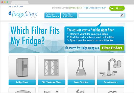 Screeshot fridgefilters.com