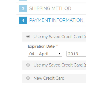 Pay with Saved Credit Card Feature