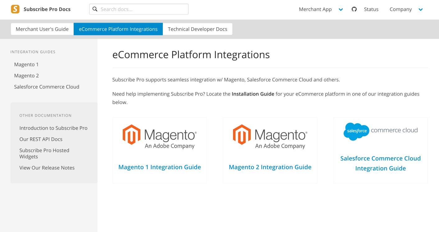 Subscribe Pro eCommerce Integrations