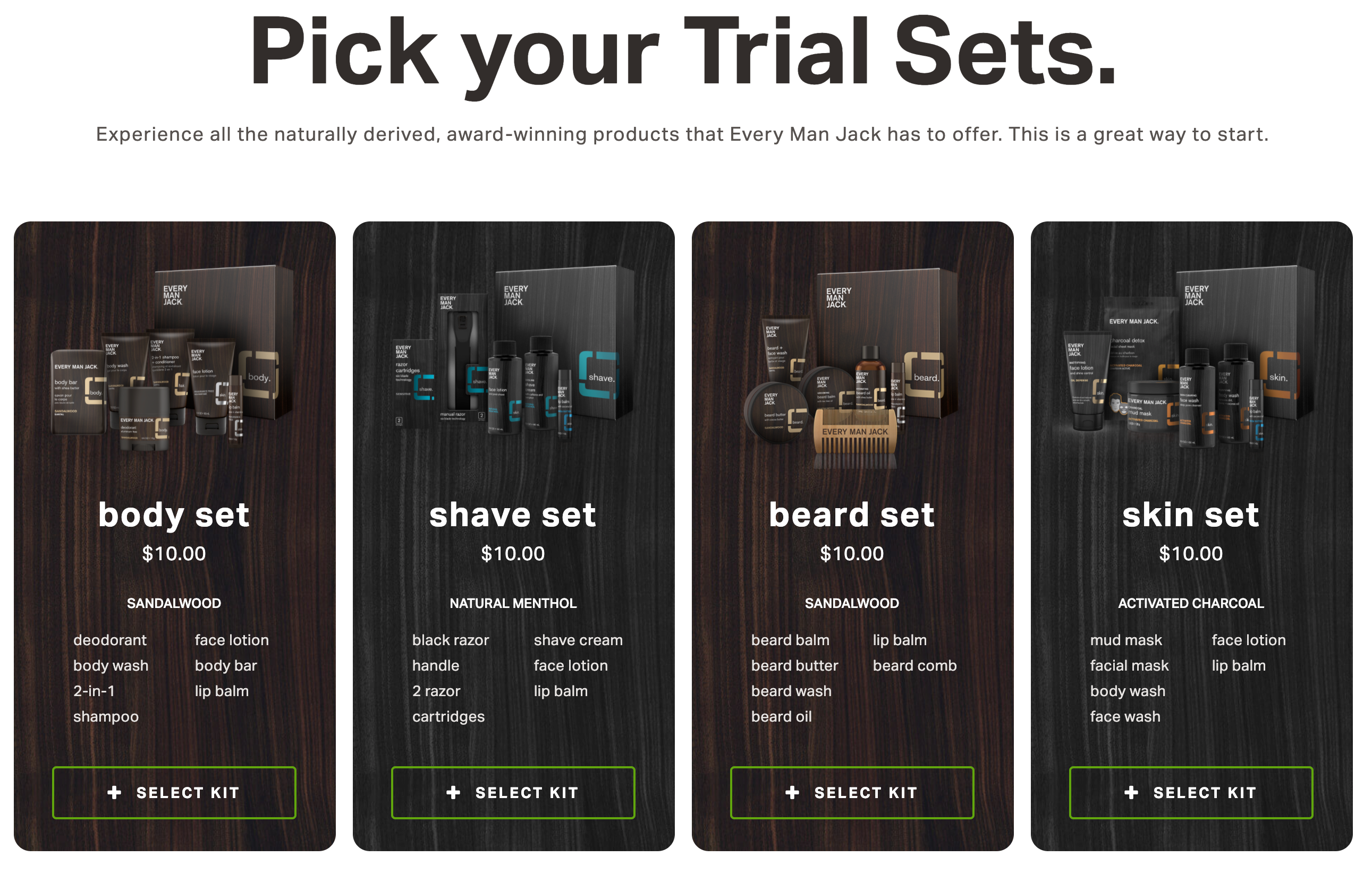 "Subscription Tips: Every Man Jack's ""Trial Sets"" page showing four different options"