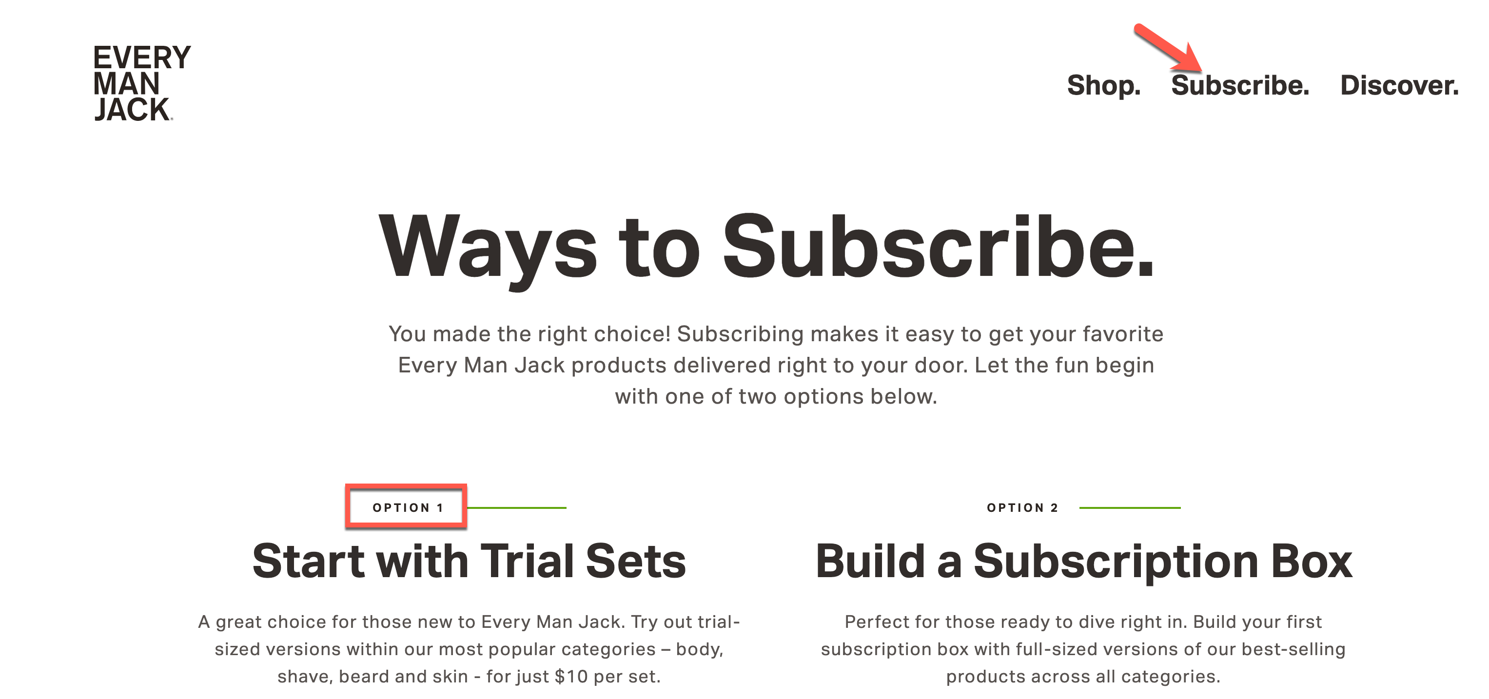 "Subscription Tips: Every Man Jack ""Subscribe"" webpage with arrow pointing to Subscribe navigation link and a option 1 ""Start with Trial Sets"" highlights in a red square."