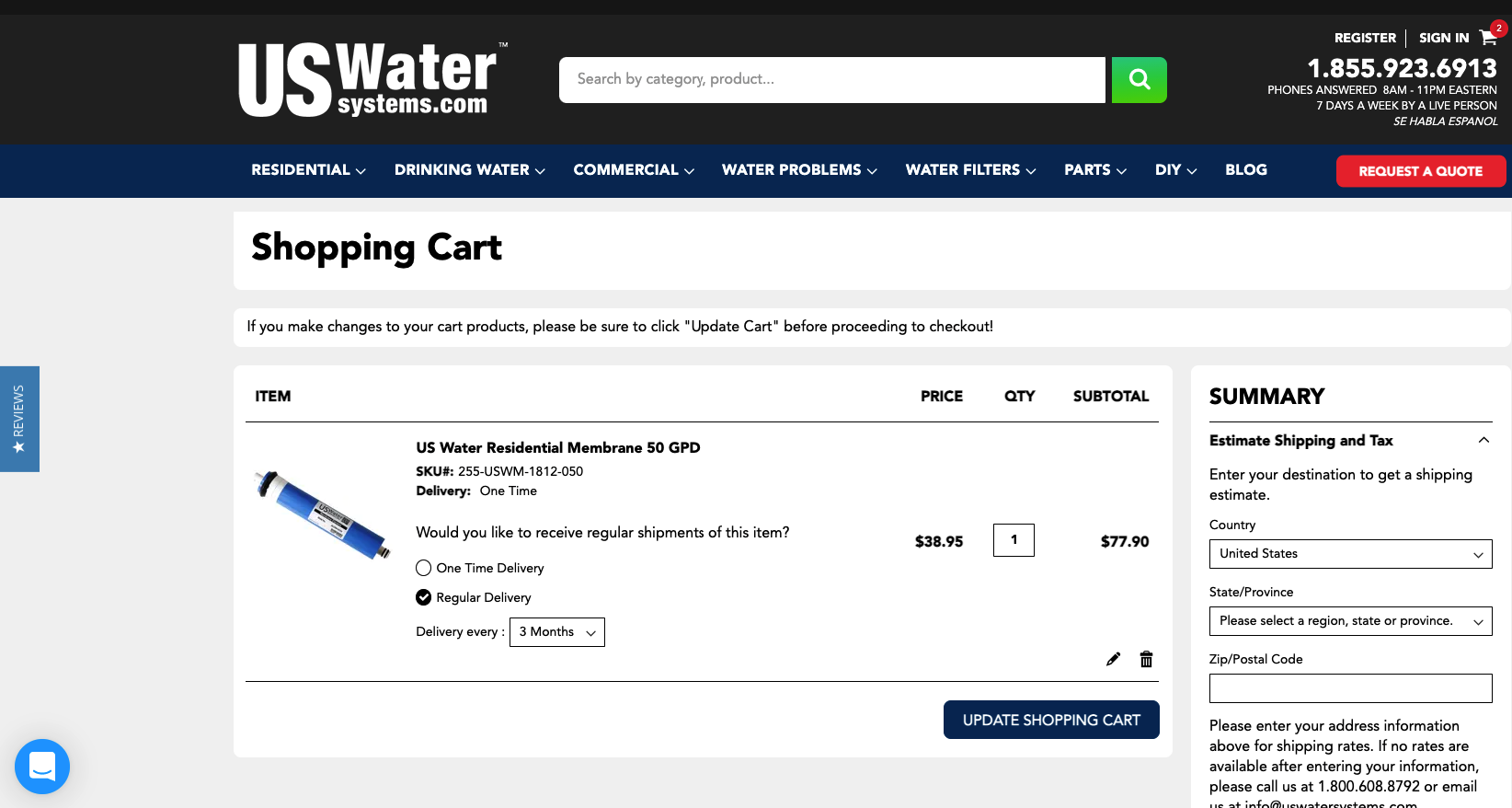 Screenshot of US Water Systems shopping cart with subscription option shown