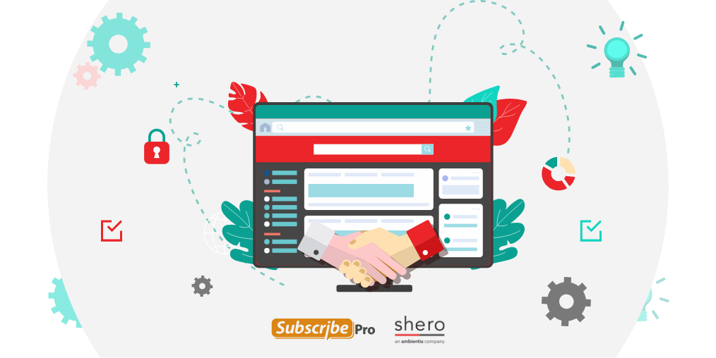 Subscribe Pro and Shero logos under an image of a handshake over a computer screen